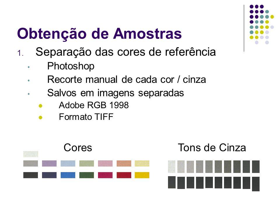 Obtenção de Amostras Separação das cores de referência Cores