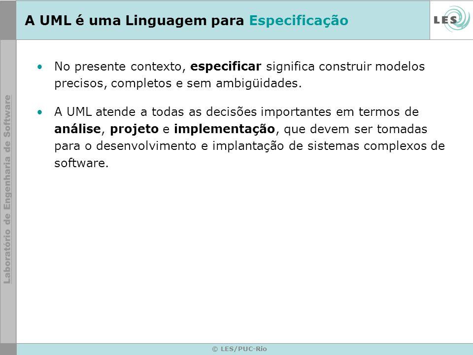 A UML é uma Linguagem para Especificação