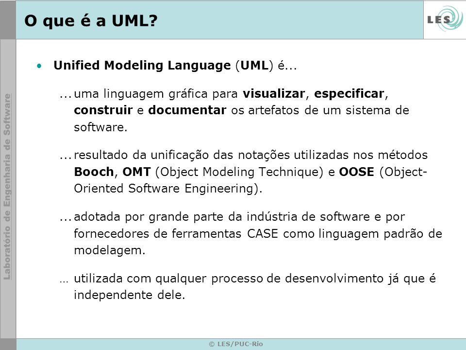 O que é a UML Unified Modeling Language (UML) é...