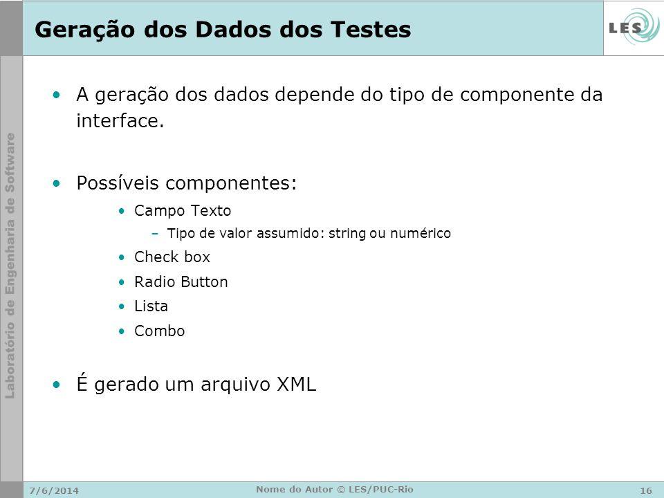 Geração dos Dados dos Testes