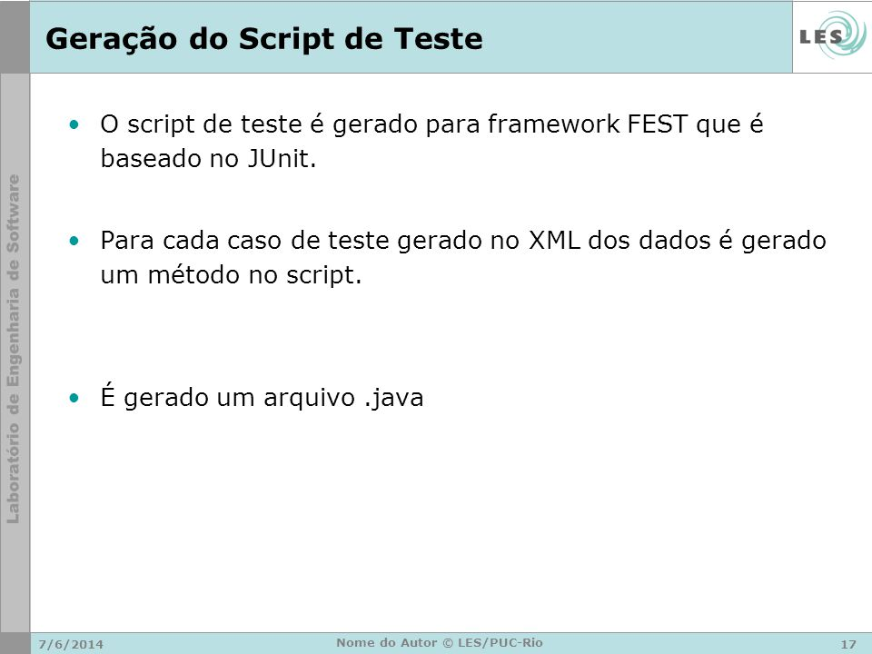 Geração do Script de Teste