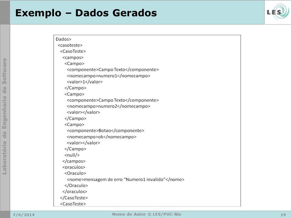 Exemplo – Dados Gerados