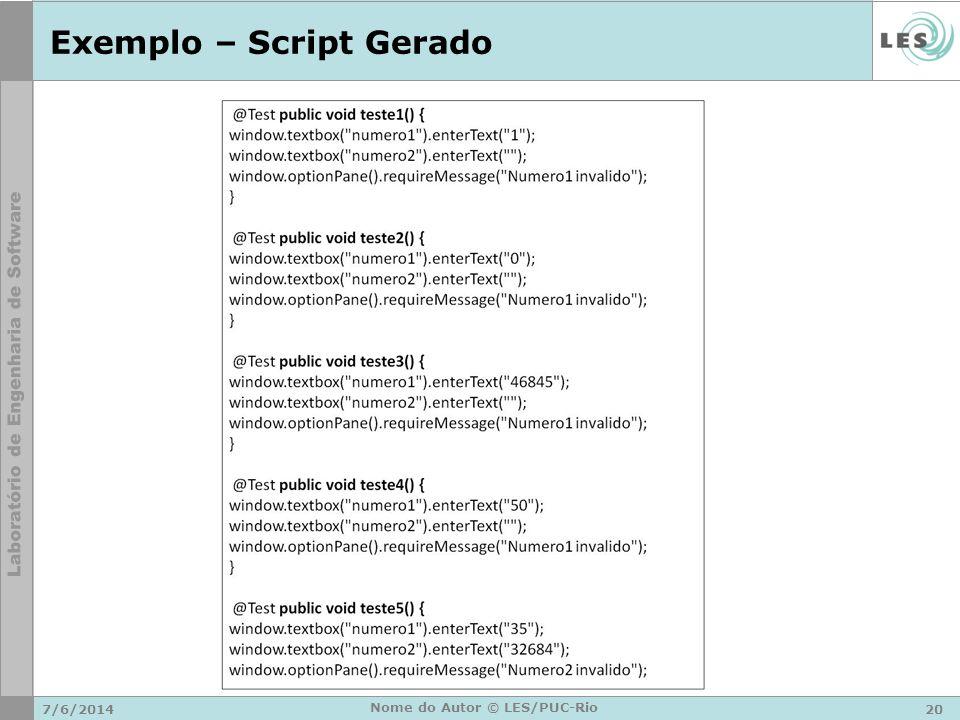 Exemplo – Script Gerado
