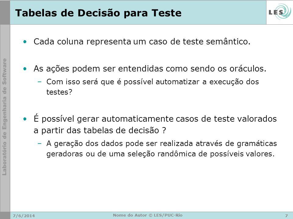 Tabelas de Decisão para Teste