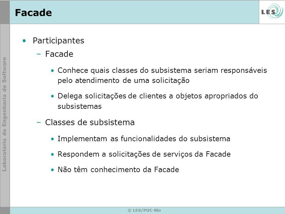 Facade Participantes Facade Classes de subsistema