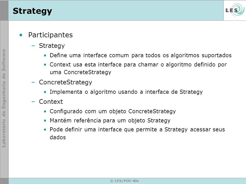 Strategy Participantes Strategy ConcreteStrategy Context