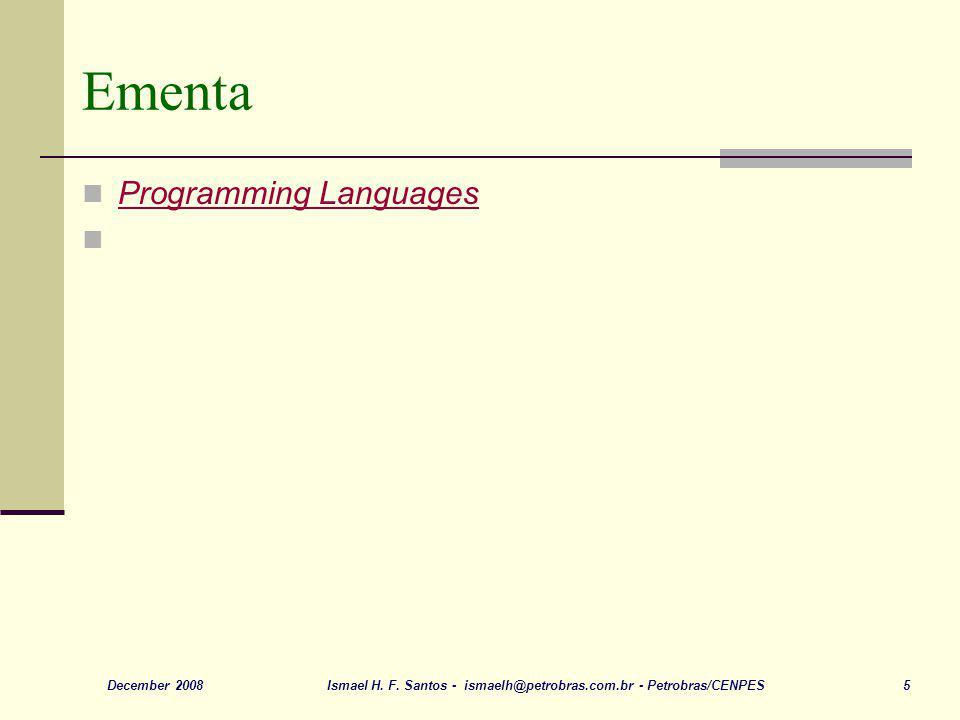 Ementa Programming Languages December 2008