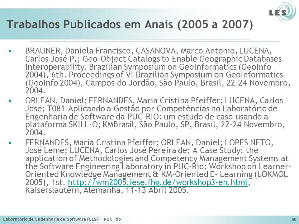 Trabalhos Publicados em Anais (2005 a 2007)