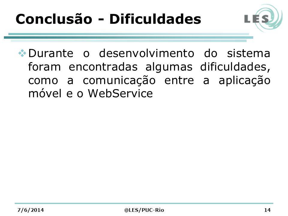 Conclusão - Dificuldades