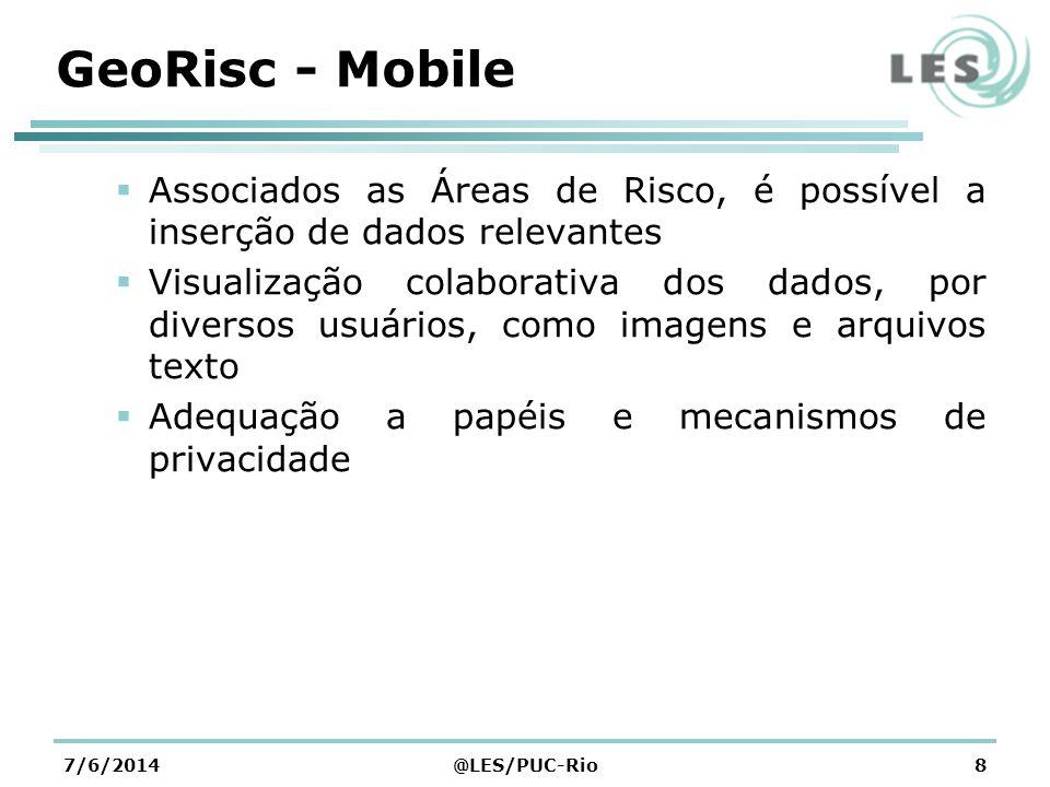 GeoRisc - Mobile Associados as Áreas de Risco, é possível a inserção de dados relevantes.