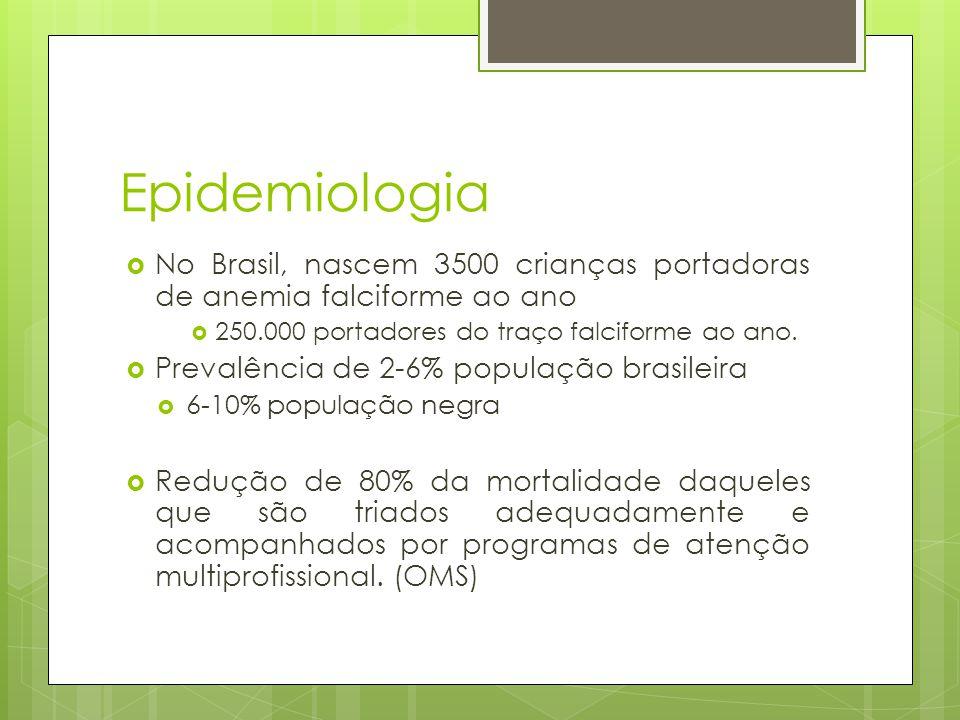 Epidemiologia No Brasil, nascem 3500 crianças portadoras de anemia falciforme ao ano. 250.000 portadores do traço falciforme ao ano.