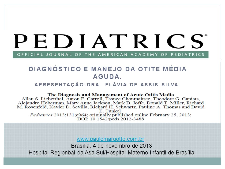 Diagnóstico e Manejo DA OTITE MÉDIA AGUDA.