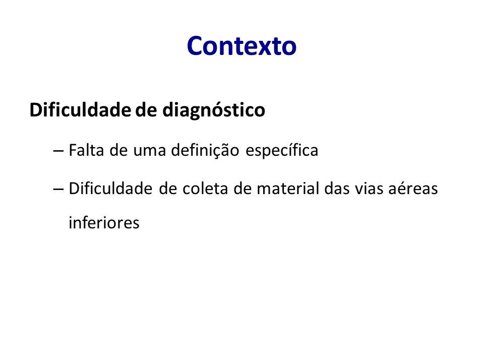 Contexto Dificuldade de diagnóstico Falta de uma definição específica