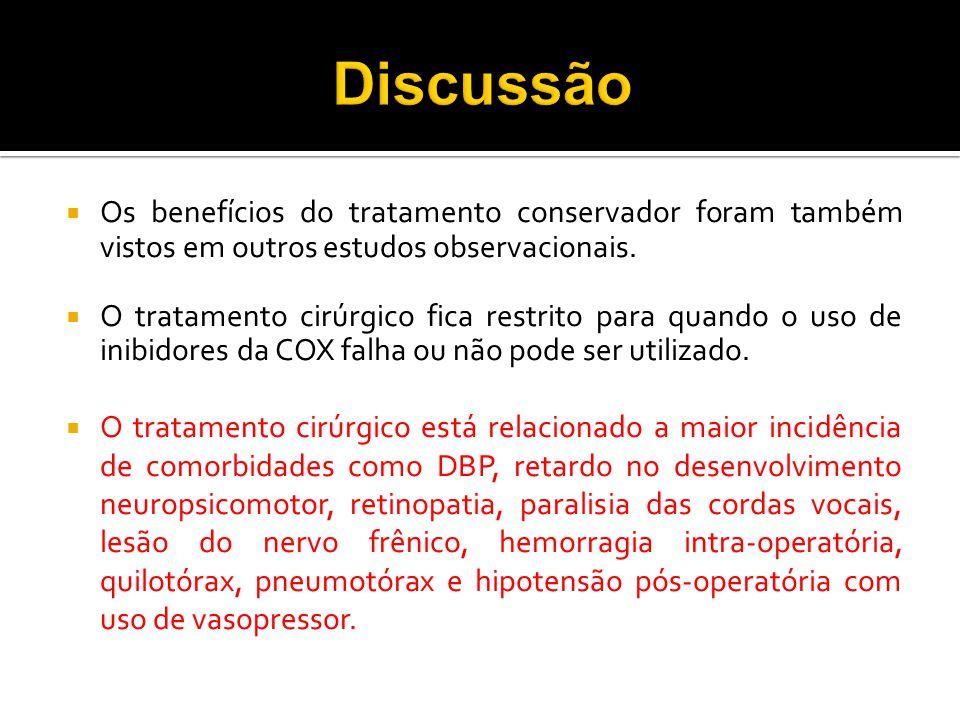 Discussão Os benefícios do tratamento conservador foram também vistos em outros estudos observacionais.