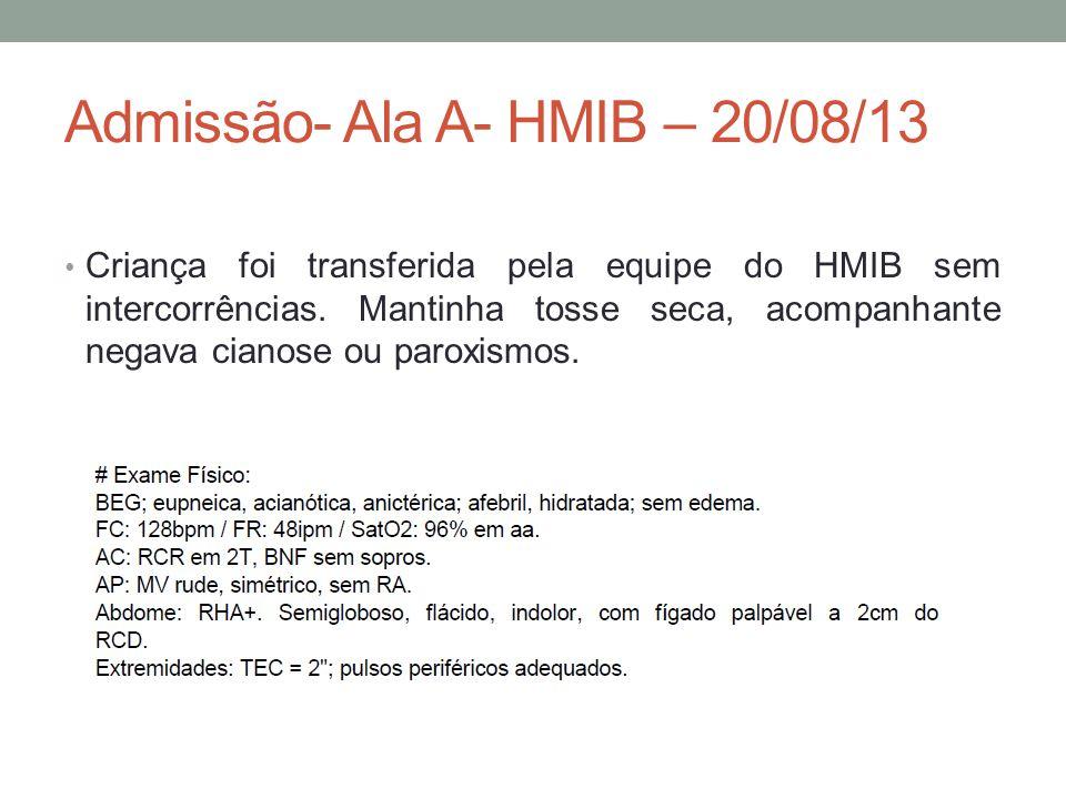 Admissão- Ala A- HMIB – 20/08/13