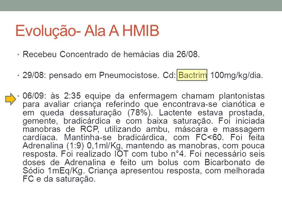 Evolução- Ala A HMIB Recebeu Concentrado de hemácias dia 26/08.