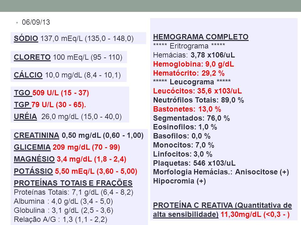 ***** Eritrograma ***** Hemácias: 3,78 x106/uL Hemoglobina: 9,0 g/dL