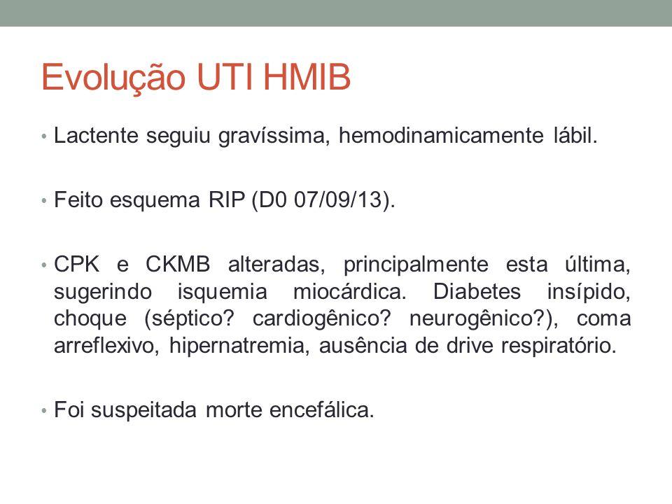 Evolução UTI HMIB Lactente seguiu gravíssima, hemodinamicamente lábil.