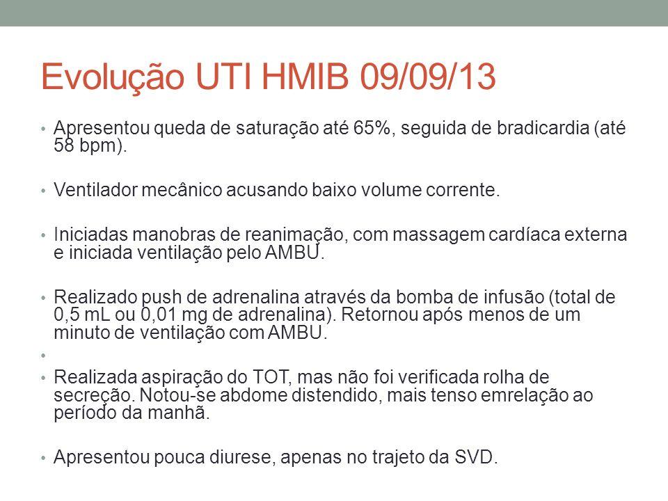 Evolução UTI HMIB 09/09/13 Apresentou queda de saturação até 65%, seguida de bradicardia (até 58 bpm).