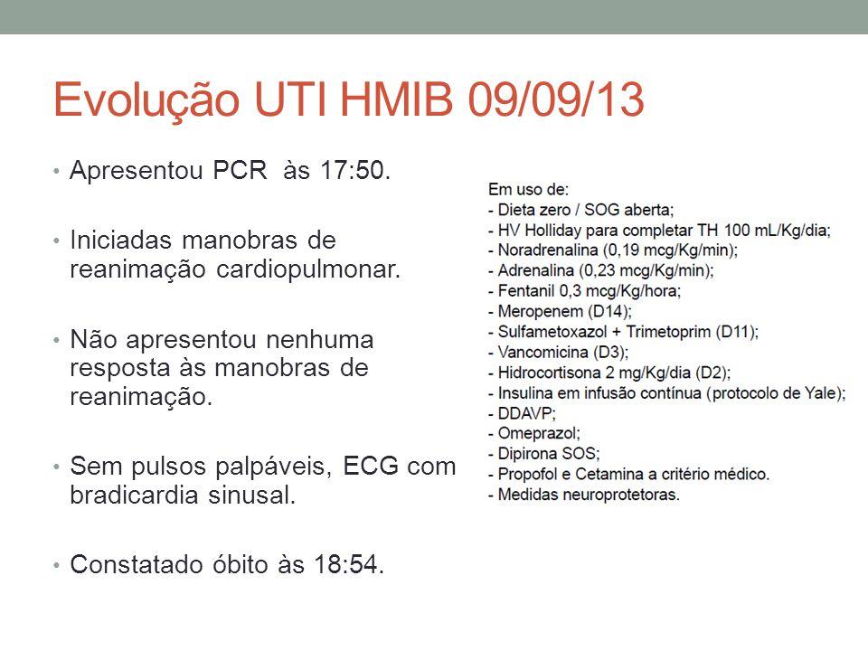 Evolução UTI HMIB 09/09/13 Apresentou PCR às 17:50.