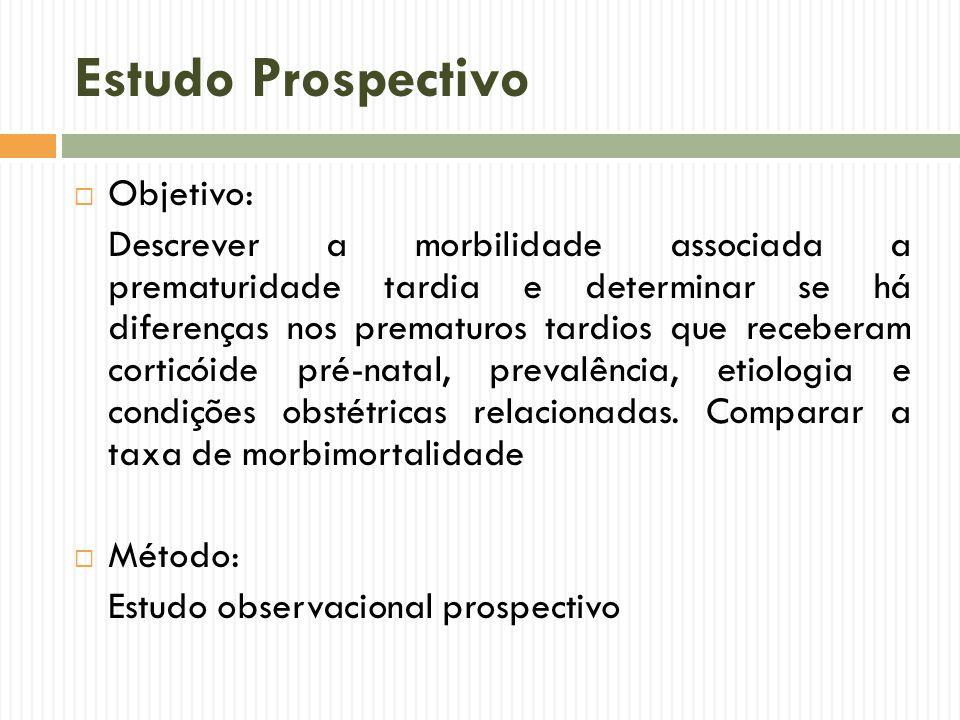 Estudo Prospectivo Objetivo: