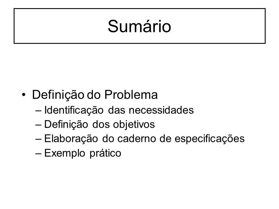 Sumário Definição do Problema Identificação das necessidades