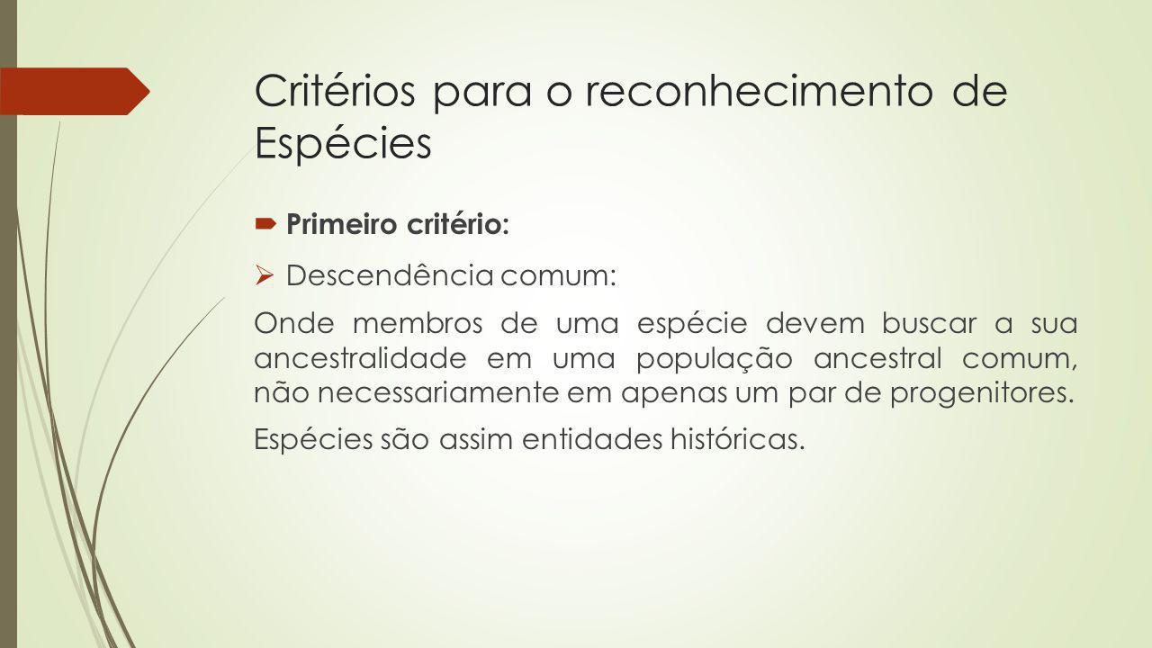 Critérios para o reconhecimento de Espécies
