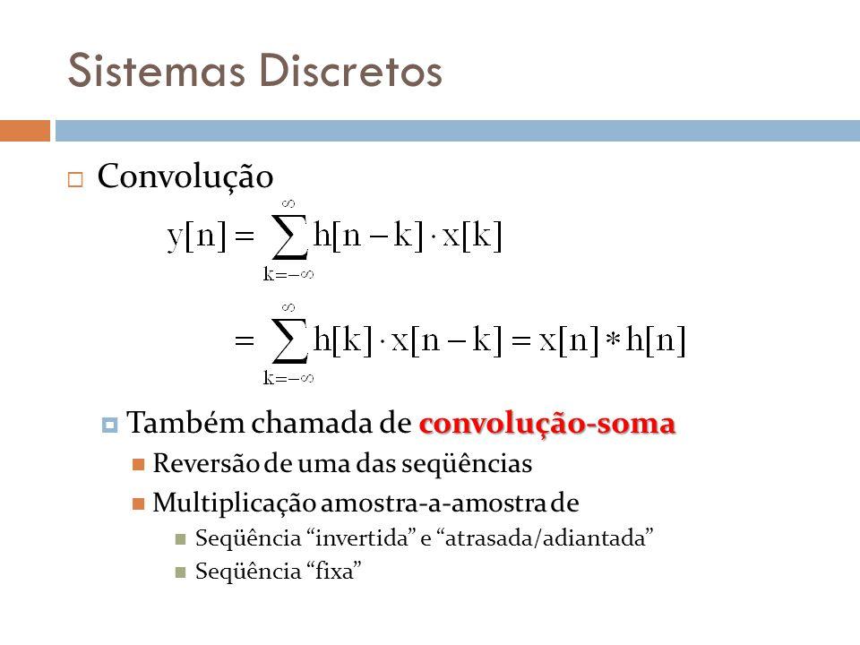 Sistemas Discretos Convolução Também chamada de convolução-soma