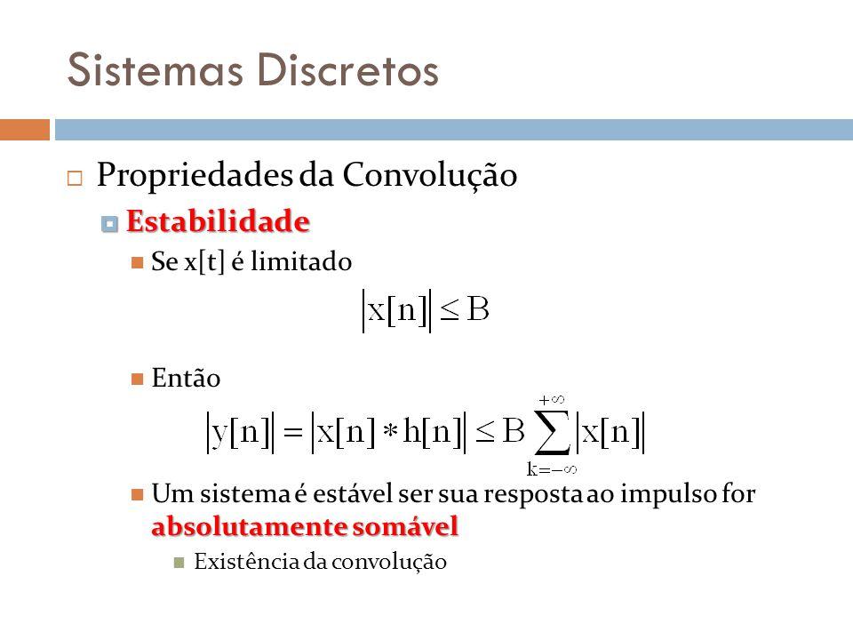 Sistemas Discretos Propriedades da Convolução Estabilidade