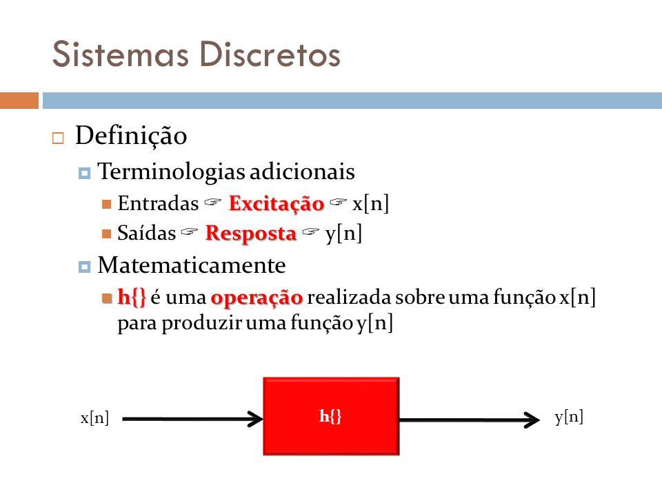 Sistemas Discretos Definição Terminologias adicionais Matematicamente