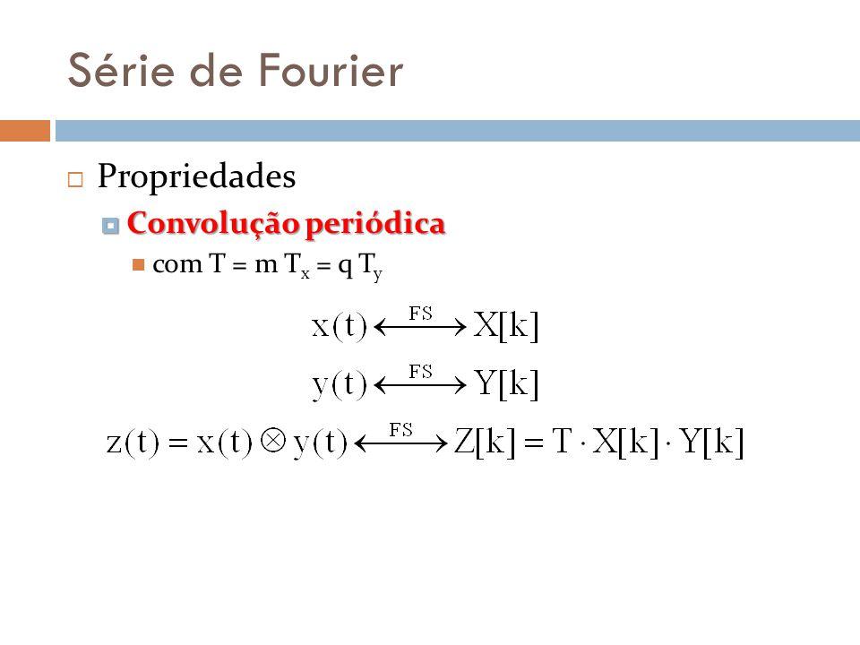 Série de Fourier Propriedades Convolução periódica com T = m Tx = q Ty