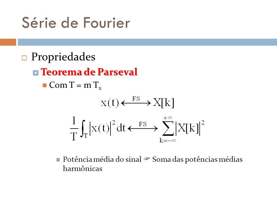 Série de Fourier Propriedades Teorema de Parseval Com T = m Tx