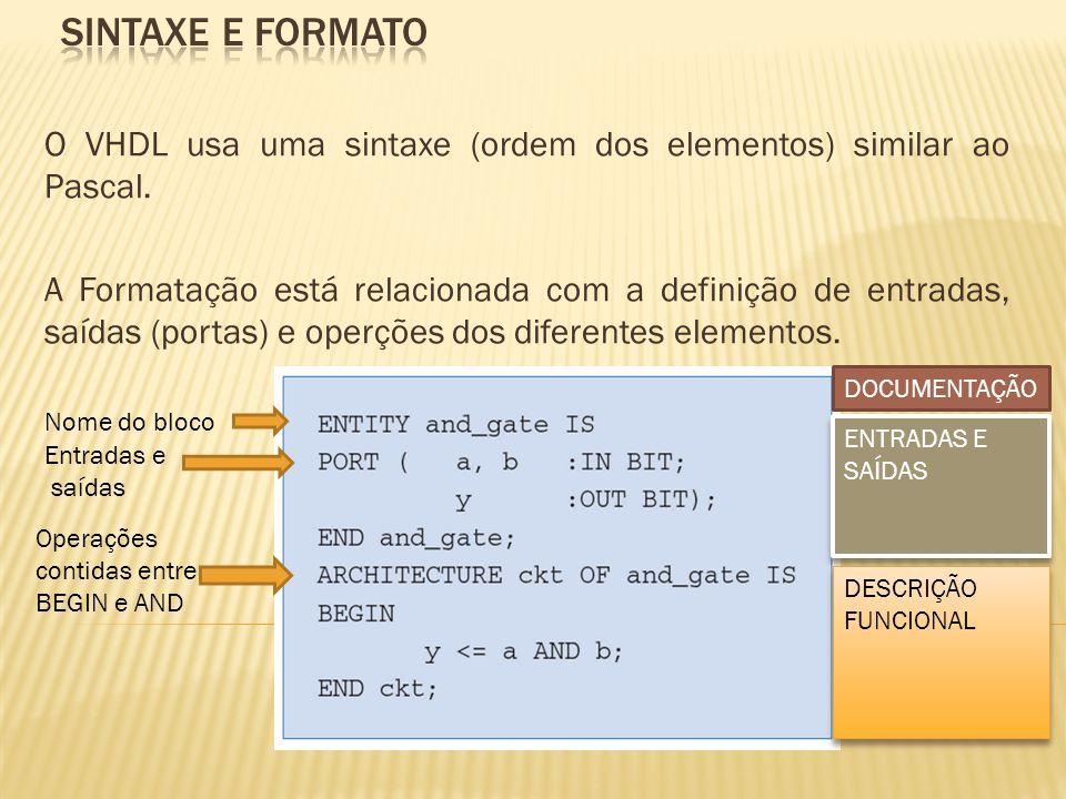SINTAXE E FORMATo O VHDL usa uma sintaxe (ordem dos elementos) similar ao Pascal.