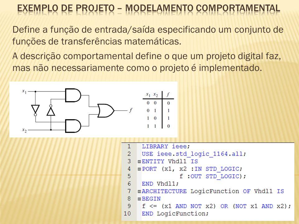 EXEMPLO de projeto – MODELAMENTO COMPORTAMENTAL