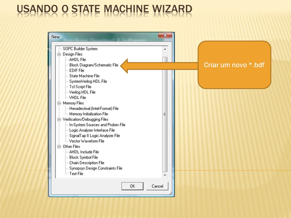 usando o state machine wizard