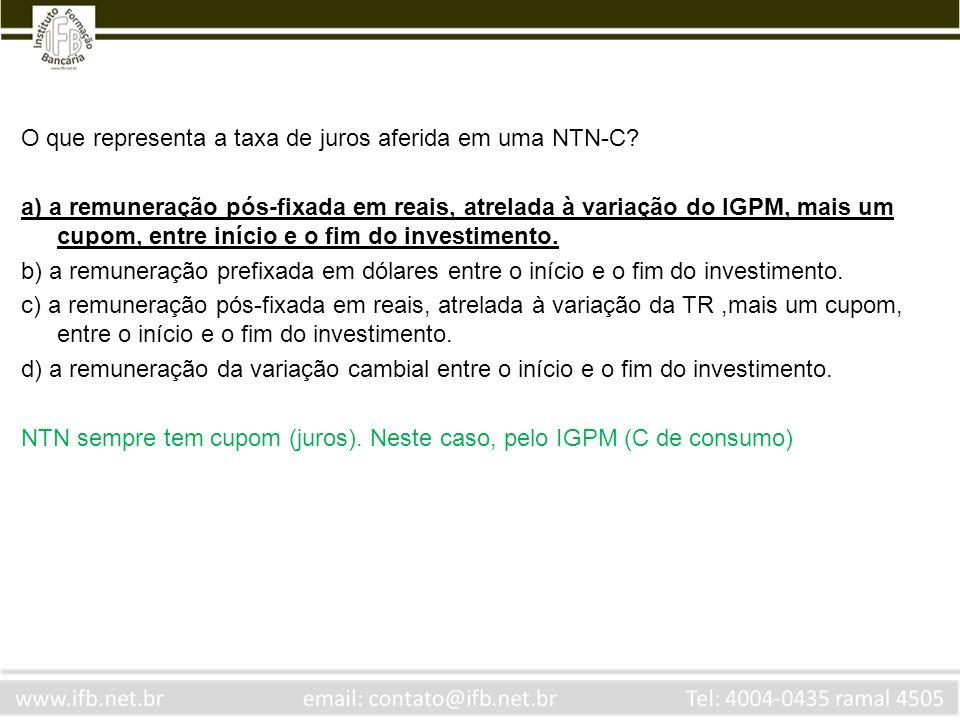 O que representa a taxa de juros aferida em uma NTN-C