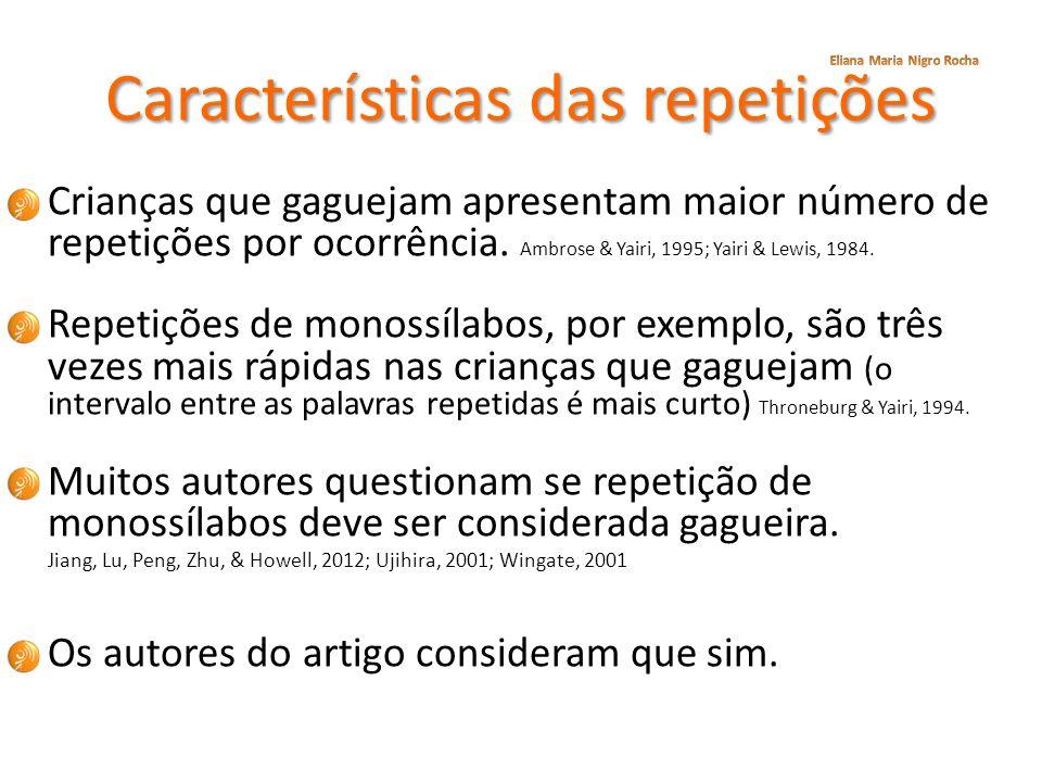 Características das repetições