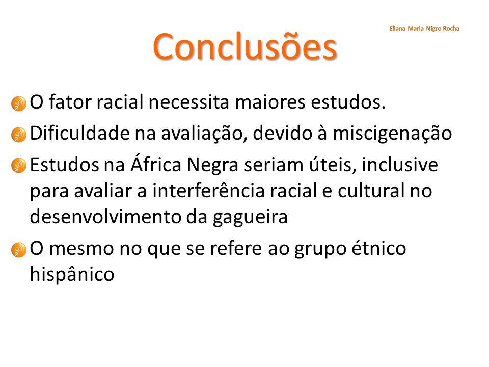 Conclusões O fator racial necessita maiores estudos.
