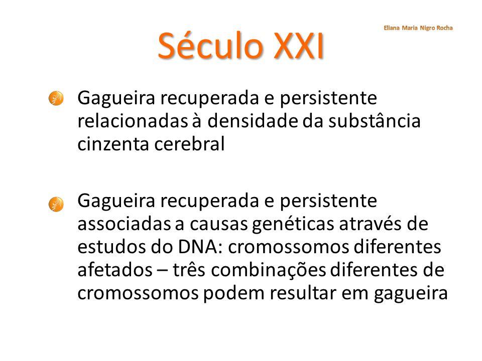 Século XXI Eliana Maria Nigro Rocha. Gagueira recuperada e persistente relacionadas à densidade da substância cinzenta cerebral.