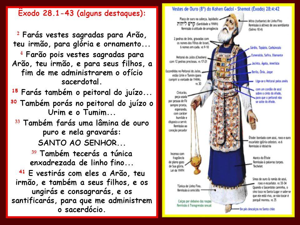 Êxodo 28.1-43 (alguns destaques):