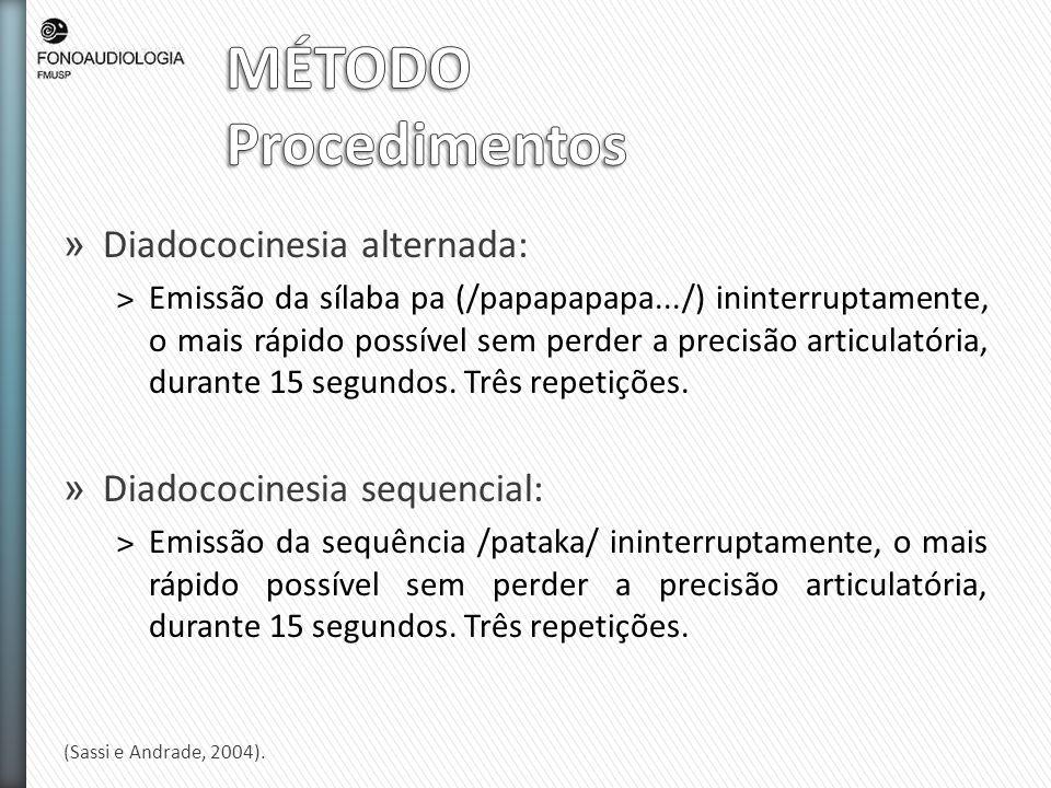 MÉTODO Procedimentos Diadococinesia alternada: