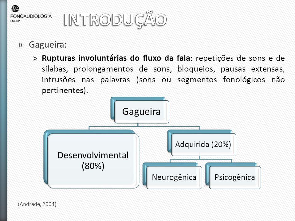 INTRODUÇÃO Gagueira Gagueira: Desenvolvimental (80%)