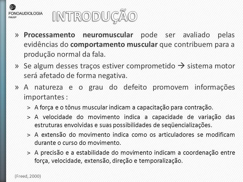 INTRODUÇÃO Processamento neuromuscular pode ser avaliado pelas evidências do comportamento muscular que contribuem para a produção normal da fala.
