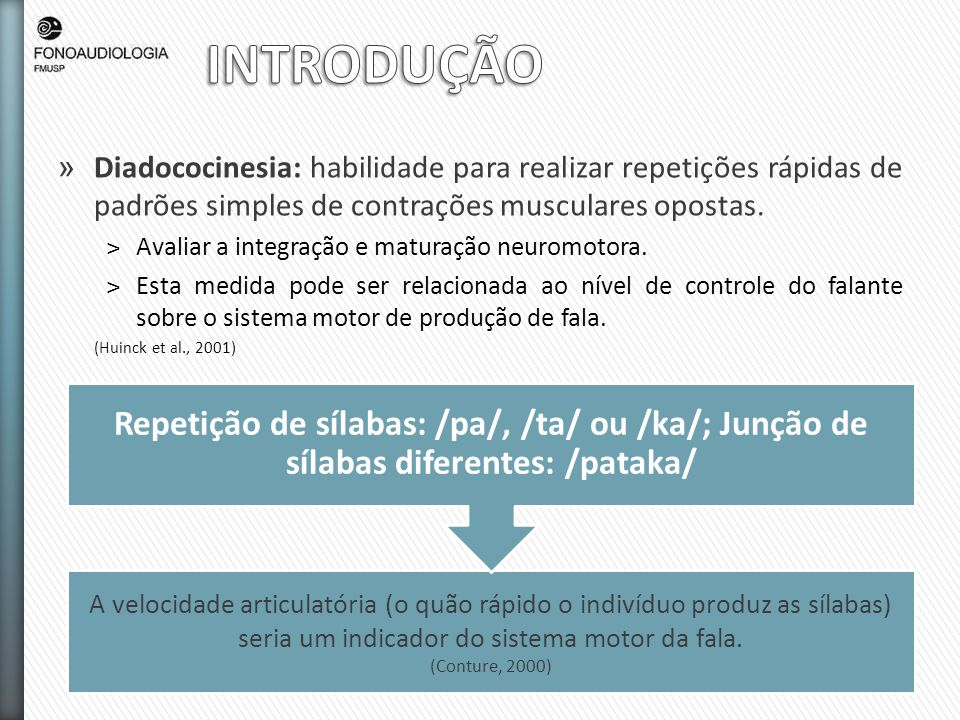 INTRODUÇÃO Diadococinesia: habilidade para realizar repetições rápidas de padrões simples de contrações musculares opostas.