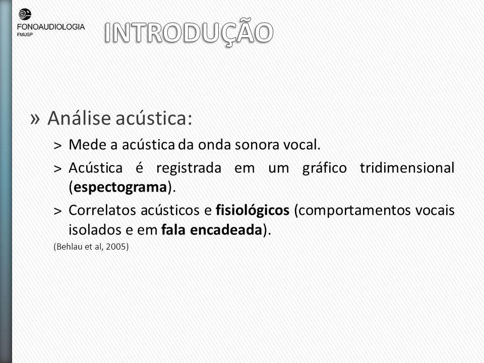 INTRODUÇÃO Análise acústica: Mede a acústica da onda sonora vocal.