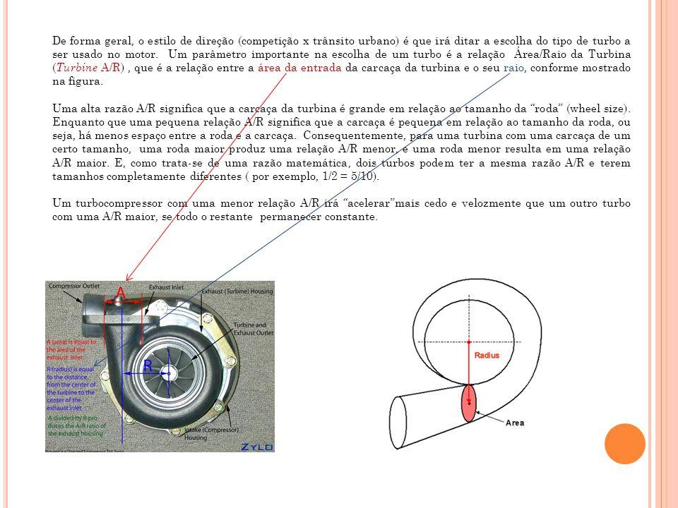 De forma geral, o estilo de direção (competição x trânsito urbano) é que irá ditar a escolha do tipo de turbo a ser usado no motor. Um parâmetro importante na escolha de um turbo é a relação Área/Raio da Turbina (Turbine A/R) , que é a relação entre a área da entrada da carcaça da turbina e o seu raio, conforme mostrado na figura.