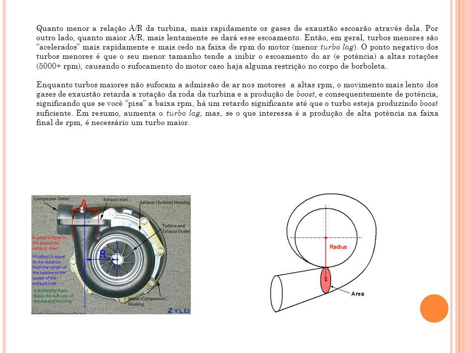 Quanto menor a relação A/R da turbina, mais rapidamente os gases de exaustão escoarão através dela. Por outro lado, quanto maior A/R, mais lentamente se dará esse escoamento. Então, em geral, turbos menores são acelerados mais rapidamente e mais cedo na faixa de rpm do motor (menor turbo lag). O ponto negativo dos turbos menores é que o seu menor tamanho tende a inibir o escoamento do ar (e potência) a altas rotações (5000+ rpm), causando o sufocamento do motor caso haja alguma restrição no corpo de borboleta.