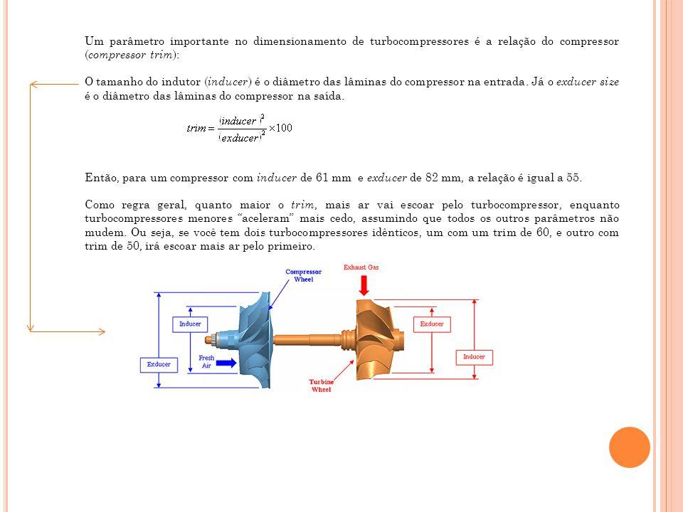Um parâmetro importante no dimensionamento de turbocompressores é a relação do compressor (compressor trim):