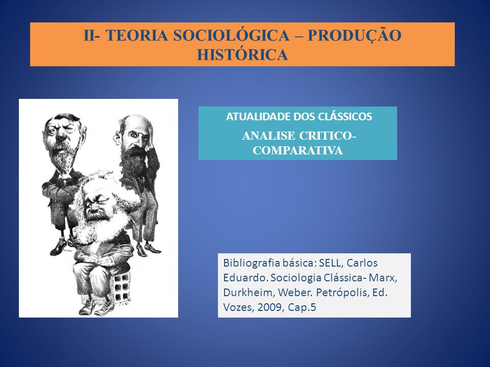 II- TEORIA SOCIOLÓGICA – PRODUÇÃO HISTÓRICA