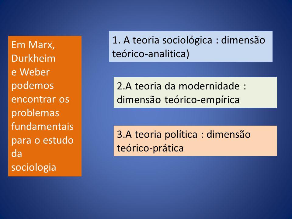 1. A teoria sociológica : dimensão teórico-analitica)